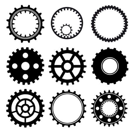 gear motion: Set of industrial gear wheel vector