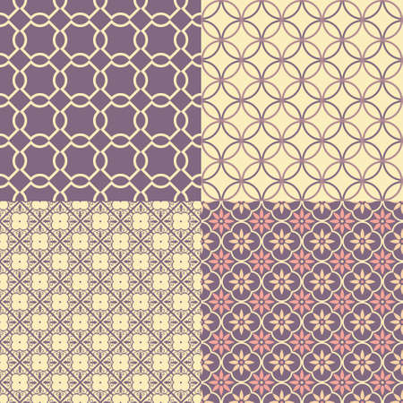 Set of four seamless abstract patterns  Vector illustration Vectores