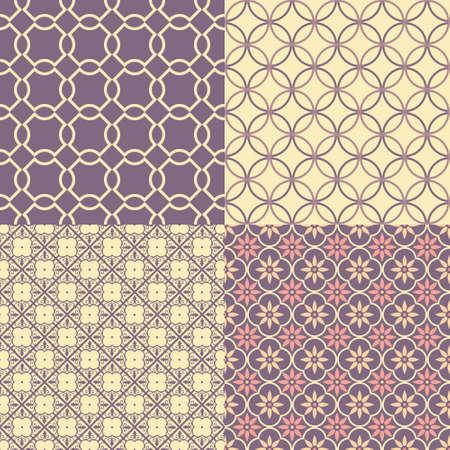 variations set: Set of four seamless abstract patterns  Vector illustration Illustration