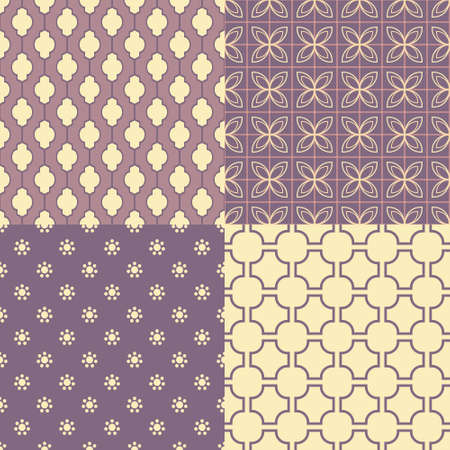 Set of four seamless abstract patterns  Vector illustration Vector