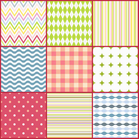 Set of nine colorful seamless patterns  Vector illustration