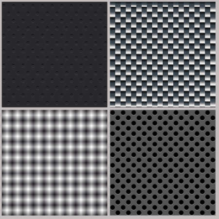 Set of four backgrounds  Abstract, dotted and metal textures