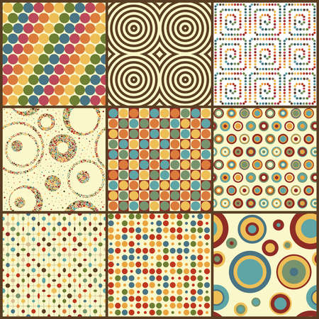 Set of nine retro geometric seamless patterns with circles   Illustration
