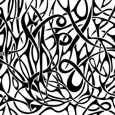 black and white image: Black and white abstract pattern in tattoo style  Vector