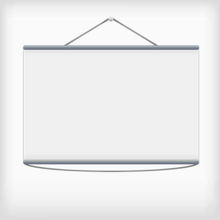 projection screen: White projection screen hanging from wall, vector Illustration