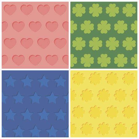 Set of four seamless relief patterns  Vector eps8 illustration Illustration