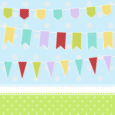 Greeting card with colorful childish bunting flags and dots