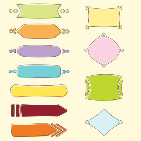 Set of multicolored banners and frames in hand drawn style Vector