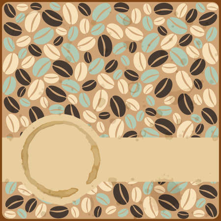 Grunge retro vintage card with stains and coffee beans on a grunge background Illustration