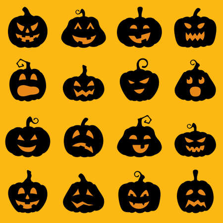 object with face: Halloween decoration Jack-o-Lantern silhouette set. Pumpkins designs with different facial expressions