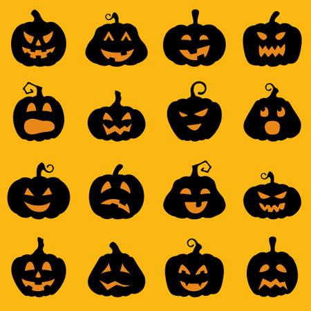 calabaza caricatura: Juego de Halloween decoraci�n silueta Jack-o-Lantern. Calabazas dise�os con diferentes expresiones faciales