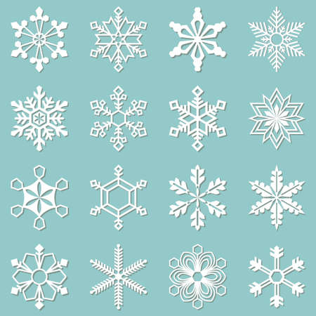 Sixteen white snowflakes of different shapes. Winter set vector illustration Vector