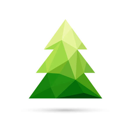 Abstract christmas tree made of triangles. Christmas and New Year card with tree. Vector