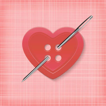 Heart-shaped button with a needle on a striped pink background. Vectores