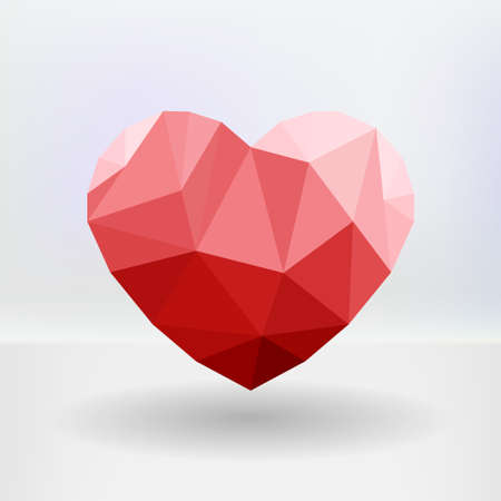 Abstract geometric heart-shaped banner with copyspace. Made of triangles Vector