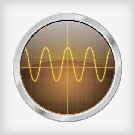 oscilloscope: Detailed oscilloscope screen Vector EPS 10 illustration