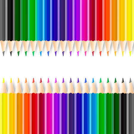 writing equipment: Color pencils isolated on white background