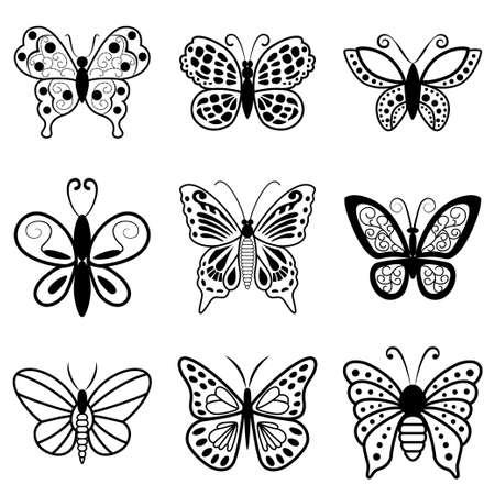 feelers: Mariposas, siluetas negras sobre fondo blanco. Vector