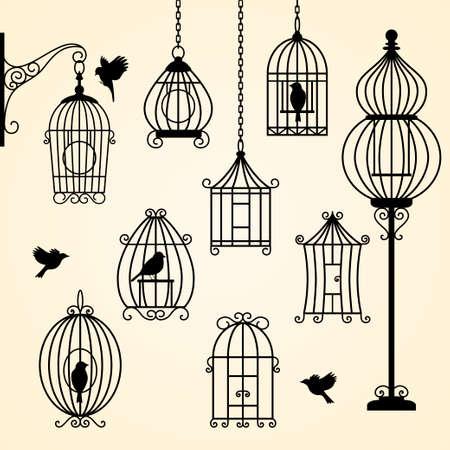 Set of vintage bird cages. Vector illustration Vectores