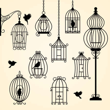 Set of vintage bird cages. Vector illustration Vector