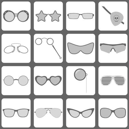 eyewear fashion: Set of 16 sunglasses and glasses icons Illustration