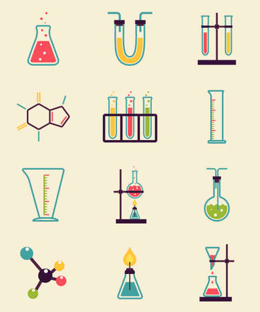 test equipment: Chemistry icons. Research and Science simple icons