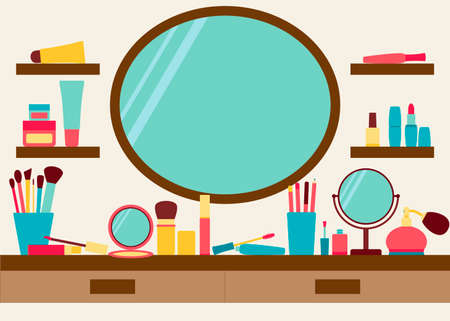 blush: Mirror, shelves and dressing table with make up scattered around. Vector illustration