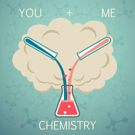 love explode: You and me it is chemistry. Chemistry of Love. Vector background