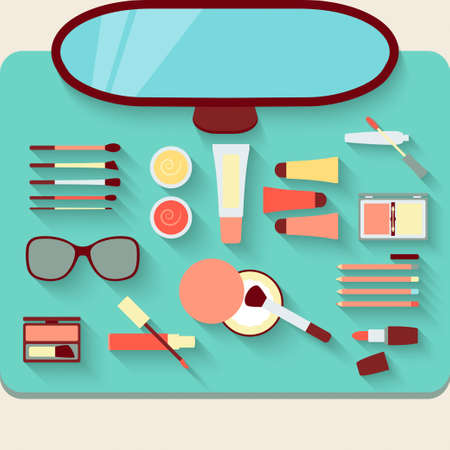 dressing table: Dressing table with cosmetics. Top view. Vector illustration Illustration