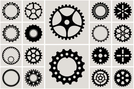 Mechanical Cogs and Gear Wheel Set. Vector illustration
