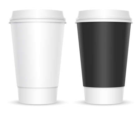 Coffee cups. Two color variations. Isolated on white background Vectores