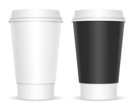 tazas de cafe: Las tazas de café. Dos variaciones de color. Aislado en el fondo blanco Vectores