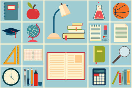 School and education icons set. Vector illustration