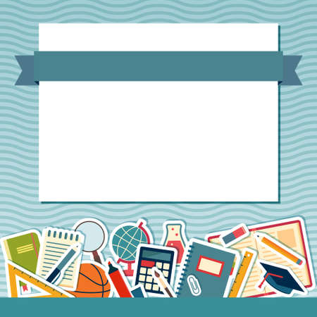 School background with place for text. Education banner Vector