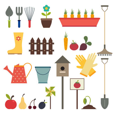 rubber glove: Garden and gardening tools icons. Isolated on a white background