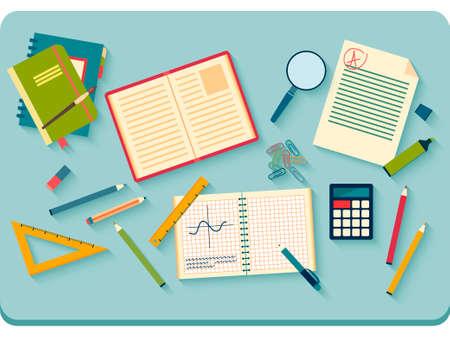 escritorio: Concepto de objetos de la escuela secundaria y de la universidad artículos educativos con el estudio y elementos educativos. Vectores