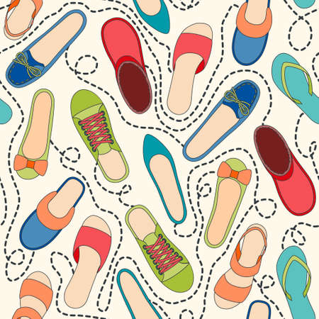 Seamless pattern with colored shoes and dashed lines   Vector