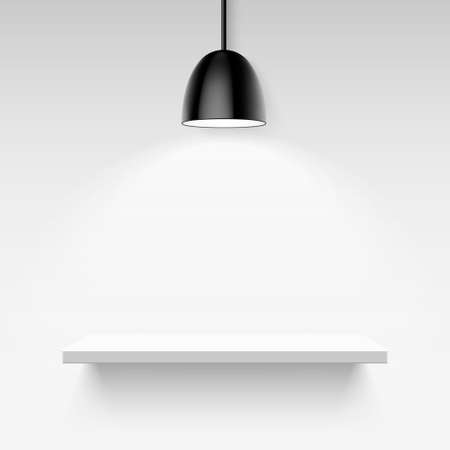 single shelf: Black ceiling lamp and empty white shelf on a light gray background