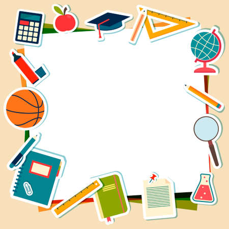 School supplies and tools with place for text  Vector illustration