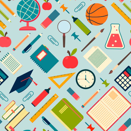 School tools and supplies on a blue background  Seamless pattern  Vector illustration