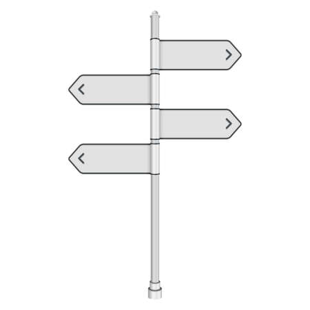 directing: Blank white traffic road sign on white background  Vector illustration