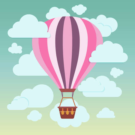 Clouds and striped hot air balloon on a blue background  Vector illustration Vectores