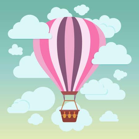 caliente: Nubes y rayas globo de aire caliente sobre un fondo azul Ilustraci�n vectorial