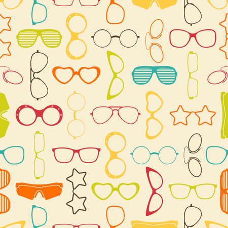 Colorful sunglasses and glasses seamless pattern  Vector illustration