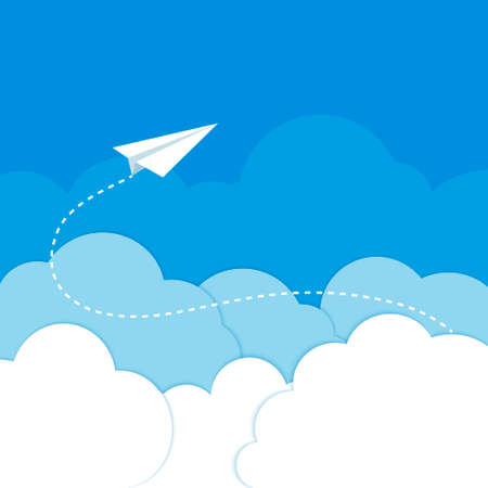 Paper airplane in the clouds on a blue background  Vector illustration