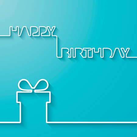 Silhouette of text and giftbox on a light blue background  Birthday vector card