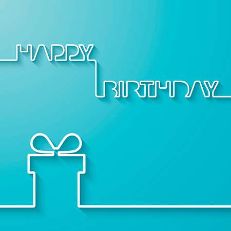 urodziny: Sylwetka tekstu i pudełko na jasnoniebieskim tle Urodziny wektora karty