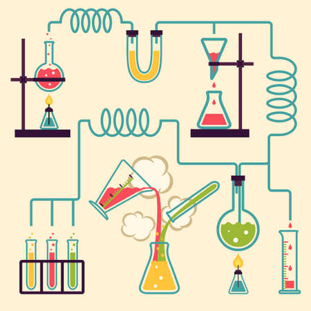 Chemistry Laboratory Infographic  Experiment in a chemistry lab illustration Çizim