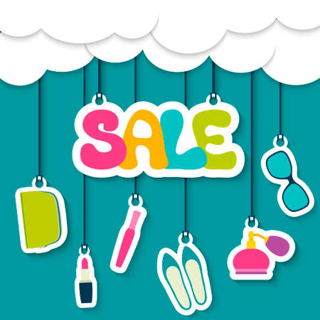 Sale label in the clouds  Women s cosmetics, shoes, accessories Vector