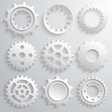 Gear wheels icon set. Nine 3d gears on a gray background. Vector illustration Ilustração